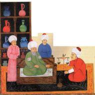 عيادة طبيب عربي مع وجود الميزان وخزنة الأدوية
