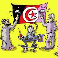 التجمع - الثورة - تونس - بن علي - المخلوع - 14 جانفي 2011 - علم تونس - كاريكاتير