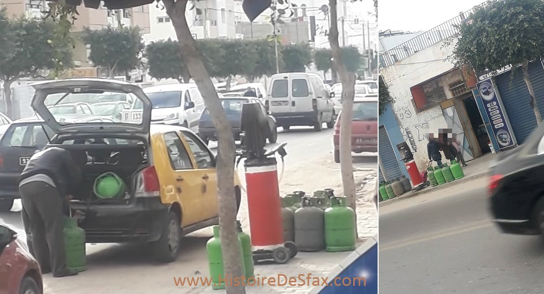 الفوضى و الخطر فى صفاقس : تاكسي يستعمل غاز مدعم قرب بنزين مهرب