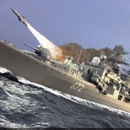 قصف صاروخي - بارجة حربية