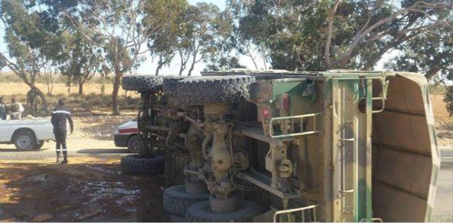 انزلاق شاحنة عسكرية