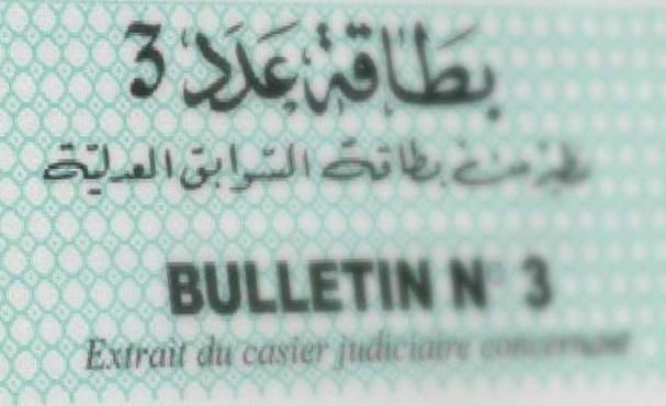 البطاقة عدد 3 - بطاقة السوابق العدلية - تونس