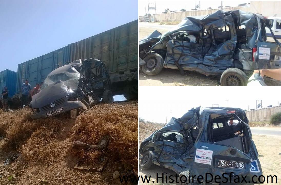 صفاقس : حادث مرور بين قطار وسيارة يودي بحياة سائق السيارة على عين المكان