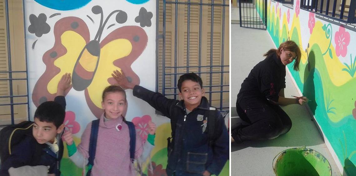 صفاقس : الرسامة شيراز اللحياني تقتحم المدرسة الابتدائية أولاد حمودة قرقور بريشتها وألوانها